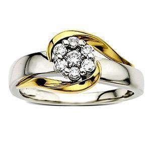 Diamond Ring in Yellow Gold With Platinum Finish - SAN38