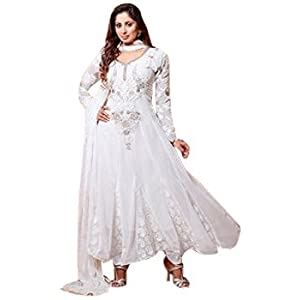 Semi Stitched Sangeeta Ghosh Neck Designer White Embroidered Anarkali Suit