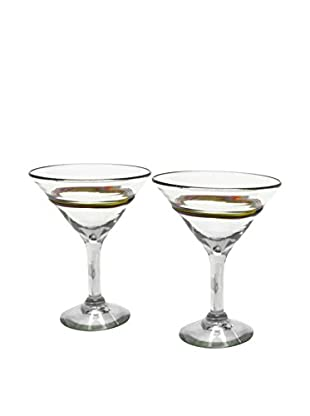 bambeco Set of 2 Rainbow Recycled Martini Glasses, Multi