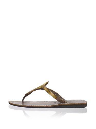 Laidback London Women's Lana Thong Sandal (Gold)