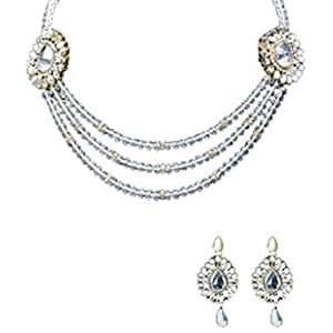 Crystal Beads And Kundan Necklace Set