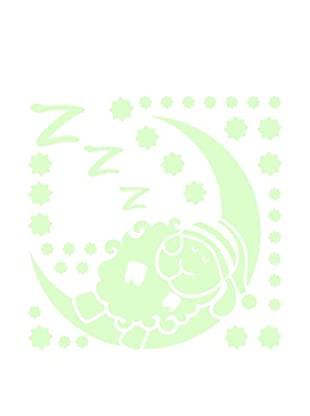 Ambiance Sticker Wandtattoo Glow In The Dark Sleepy Sheep On The Moon