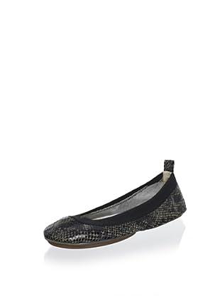 Yosi Samra Women's Snake Print Elasticized Ballet Flat (Olive)