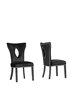 Baxton Studio Set of 2 Dejarnette Dining Chairs, Black