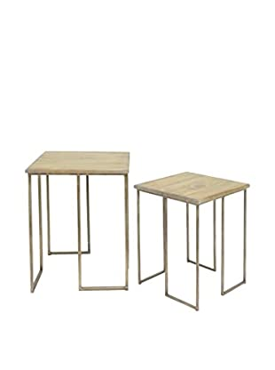 Three Hands Accent Table Set, Natural/Gold