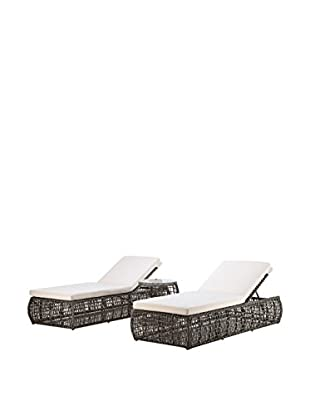Ceets Pavilion 3-Piece Outdoor Lounge Chairs & End Table, Grey/White