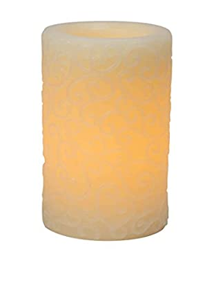 Candle Impressions Flameless Candle Scroll Pillar, Cream