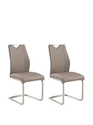 Armen Living Bravo Set of 2 Contemporary Side Chairs, Coffee