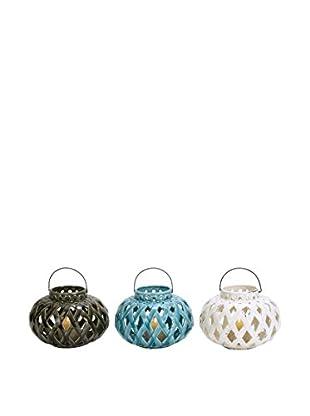 Set of 3 Assorted Ceramic Lanterns, Multi
