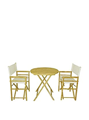 ZEW, Inc. Round Table & Director Chair Set, White