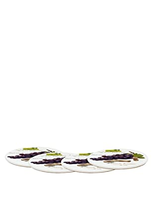 Easy Life Design Set 4 Sottobicchieri in Porcellana Uva Ø 10,5 cm