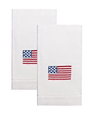 Henry Handwork Set of 2 American Flag Embroidered Hand Towels, White