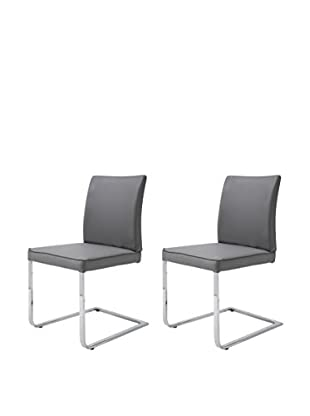 Whiteline Ivy Set of 2 Dining Chairs, Gray
