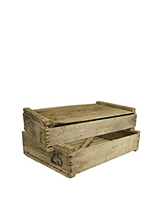 Uptown Down Set of 2 Rustic 1990s Wood Egg Crates