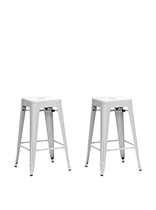 Baxton Studio Set of 2 French Industrial Counter Stools, White