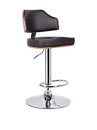 Baxton Studio Cabell Modern Bar Stool, Walnut, Black