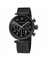 Akribos Chronograph Black Dial Black Pvd Mesh Steel Mens Watch Ak627Bk
