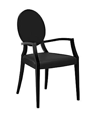 Domitalia Cameo Leather Armchair, Black