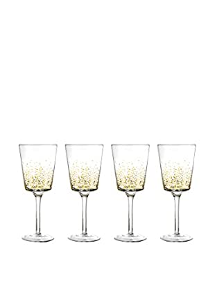 Jay Imports Set of 4 Daphne Gold Luster Goblets, Clear/Gold, 11.2-Oz.