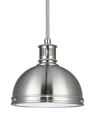 Sea Gull Lighting Pratt Street Metal 1-Light Pendant, Brushed Nickel