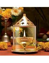 Borosil Akhand Diya (Large, Brass)