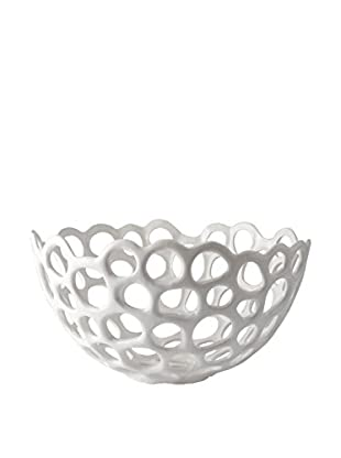 Artistic Perforated Porcelain Dish, Large, White