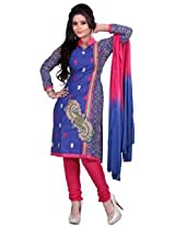 7 Colors Lifestyle Blue Coloured Cotton Unstitched Churidar Material - ADZDR2011HYBY