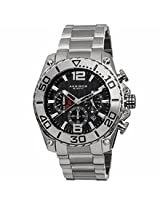 Akribos Conqueror Chronograph Black Dialstainless Steel Mens Watch Ak639Ss
