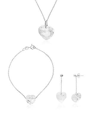 WISHLIST Set Halskette, Armband und Ohrringe  rhodiniertes Silber 925