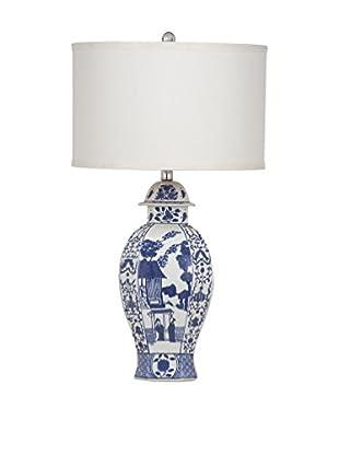 Bassett Mirror Company Alden 1-Light Table Lamp, Navy/White