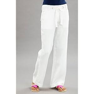 Women Stylish White Pants with Backflap Pockets