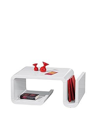 13casa Mesa Auxiliar Cube 2 Blanco 40 x 90 x 60 cm