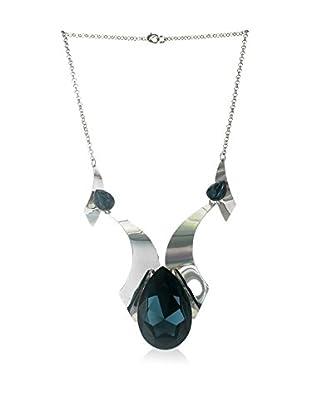 Crystal from Swarovski Halskette dunkelgrün/silberfarben