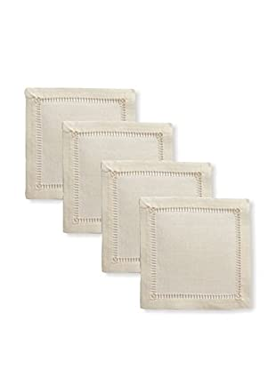 Henry Handwork Set of 4 Pure Linen Embroidered Cocktail Napkins, Ivory