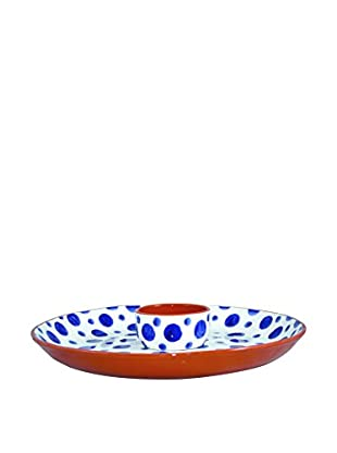 Canvas Home Spongeware Chip-N-Dip Tray, Blue/White
