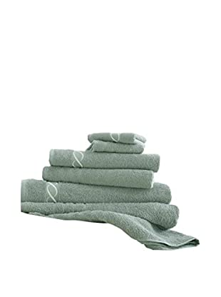 Luxury Home 6-Piece Egyptian Cotton Embroidered Chain Towel Set, Jade
