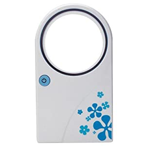 Gromo 6 inch USB Bladeless Fan - White and Blue