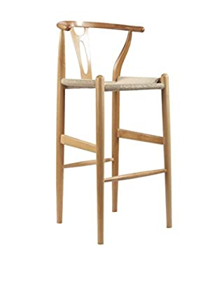 Baxton Studio Mid-Century Modern Wishbone Wood-Y Stool, Natural