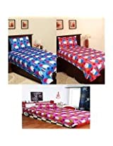 Homefab India Combo Of 3 Cotton Single Bed Sheet with 3 Pillow Covers (Combo638)
