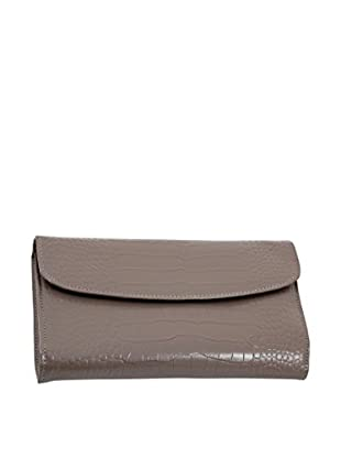 Bey-Berk Grey Croco Leather Multi-Compartment Jewelry Clutch