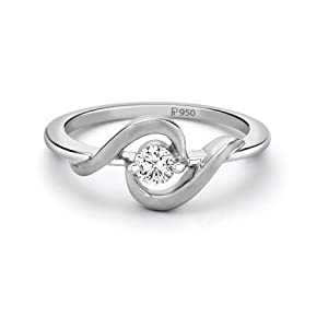 Platinum ring with Single Diamond for Women
