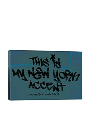 Banksy This Is My New York Accent...(Blue) Gallery Wrapped Canvas Print