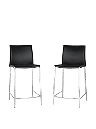 Baxton Studio Set of 2 Tall Leather Counter Stools, Black