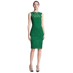 Women's Embossed flower Lace Bow Back Slim Dress|M|Green