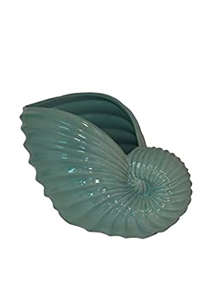 Three Hands Aqua Shell Vase