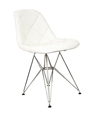 Stilnovo Mid Century Padded Dining Chair With Chrome Legs, White/Chrome