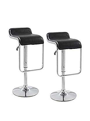 Manhattan Living Set of 2 Flat Bar Stool Chairs, Black