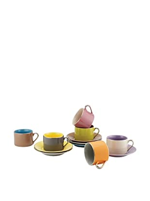 Classic Coffee & Tea Set of 6 Siena Tea Cups & Saucers, Assorted, 7-Oz.