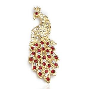 The Pari Peacock Brooch Red and White Studded - Tpb-19