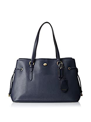 Coach Women's Peyton Saffiano Leather Drawstring, Blue Ink